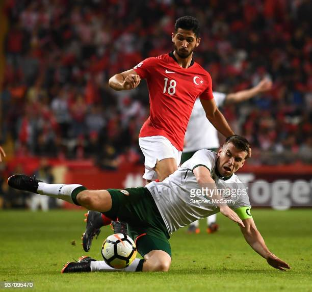 Antalya Turkey 23 March 2018 Seamus Coleman of Republic of Ireland is tackled by Emre Akbaba of Turkey during the International Friendly match...
