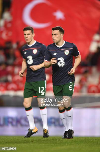 Antalya Turkey 23 March 2018 Seamus Coleman right and Darragh Lenihan of Republic of Ireland prior to the International Friendly match between Turkey...