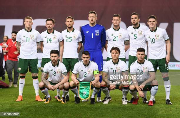 Antalya Turkey 23 March 2018 The Republic of Ireland team back row from left to right James McClean Alan Browne Conor Hourihane Colin Doyle Kevin...