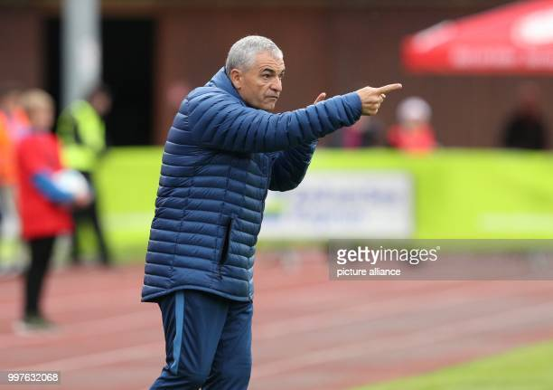 Antalya's head coach Riza Calimbay gives instructions durint the test match between Bayer Leverkusen and Antalyaspor in Zell am See Austria 27 July...