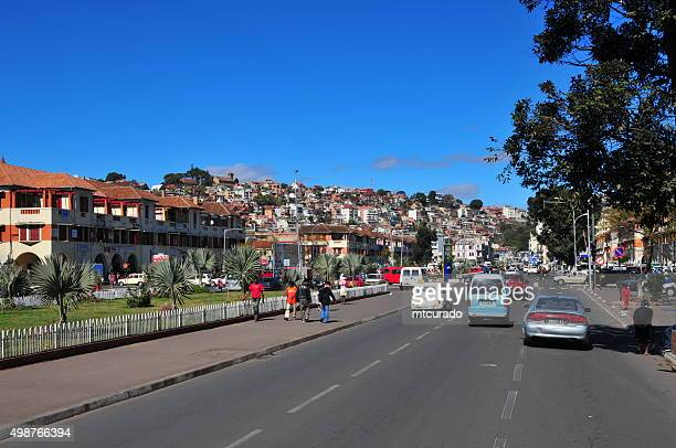 antananarivo, madagascar: downtown, independence avenue - antananarivo stock photos and pictures