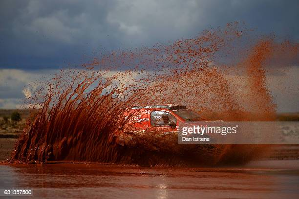 Antanas Juknevicius of Lithuania and Dakaras Toyota drives with codriver Darius Vaiciulis of Lithuania in the Hilux Overdrive Toyota car in the...