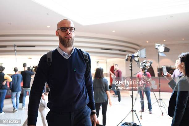 Antanas Kavaliauskas #44 of Zalgiris Kaunas during the Zalgiris Kaunas Arrival to participate of 2018 Turkish Airlines EuroLeague F4 at Hyatt Regency...