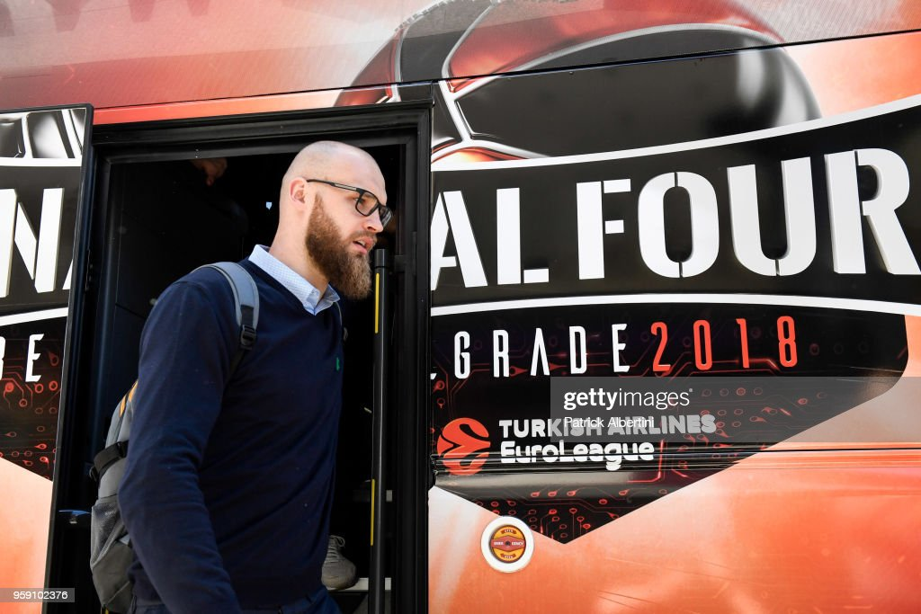 Antanas Kavaliauskas, #44 of Zalgiris Kaunas during the Zalgiris Kaunas Arrival to participate of 2018 Turkish Airlines EuroLeague F4 at Hyatt Regency Hotel on May 16, 2018 in Belgrade, Serbia.
