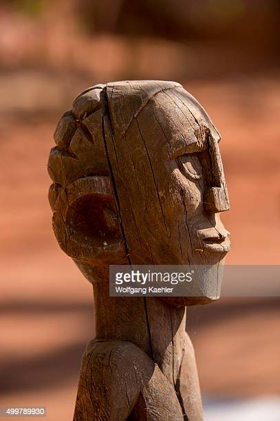Antanosy grave totems on display at the museum at Berenty resort in southern Madagascar