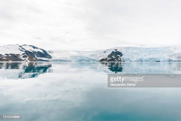 Antarctic landscape with the Stenhouse and Ajax Glaciers in the background and the Martel Cove with the water practically still, on January 04, 2020...