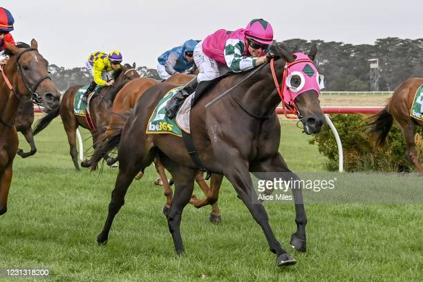 Antarctic Ocean ridden by Jarrod Fry wins the Terragen Biotech BM58 Handicap at Terang Racecourse on February 22, 2021 in Terang, Australia.