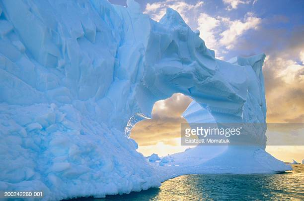 antarctic peninsula, drake passage, iceberg at sea, sunset - drake passage stock photos and pictures