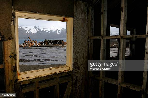 Antarctica South Shetland Islands Deception Island Port Forster Whaler's Bay Remains Of Whaling Station Interior View Out Of Window