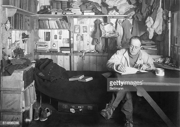 Antarctica The Scott Expedition Robert Scott in his den Photograph by HG Pointing Undated photograph circa 1910