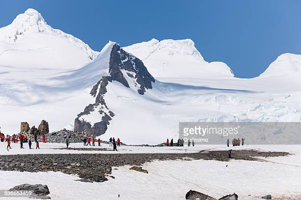 Antarctica tourists on Half Moon Island