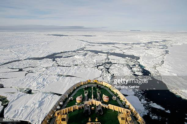 Antarctica Weddell Sea Icebreaker Kapitan Khlebnikov Going Through Pack Ice Bow