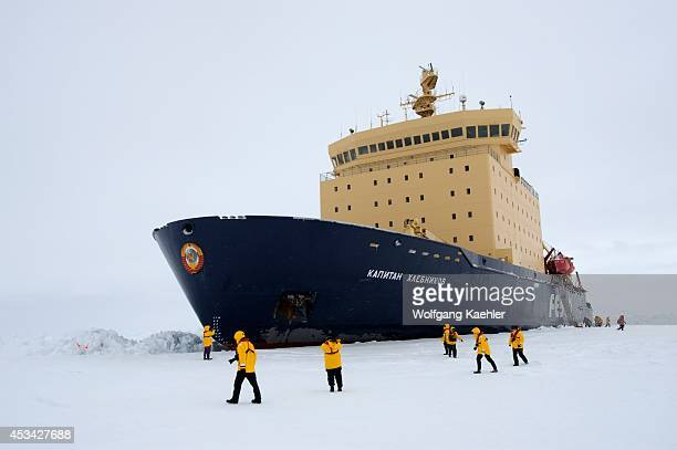 Antarctica Weddell Sea Icebreaker Kapitan Khlebnikov Parked In Fast Ice Bow With Hammer And Sickel Emblem Tourists