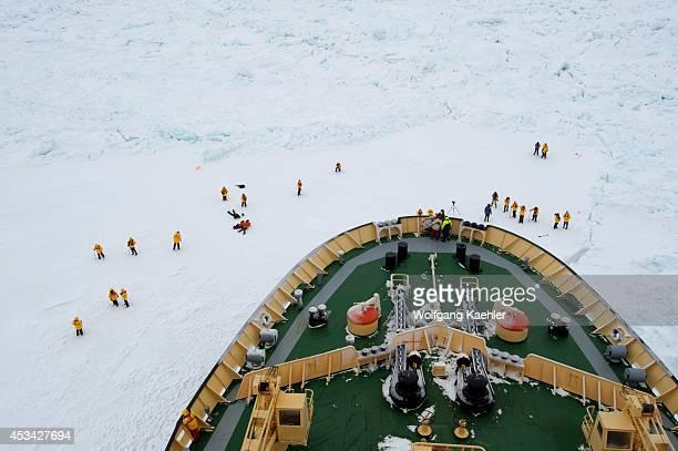 Antarctica Weddell Sea Icebreaker Kapitan Khlebnikov Parked In Fast Ice Tourists On Ice Bow