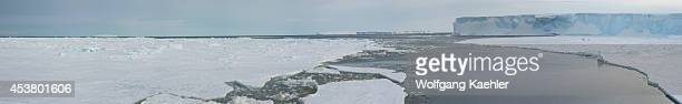 Antarctica Weddell Sea Near Snow Hill Island Panorama Photo Of Tabular Iceberg Emperor Penguins Aptenodytes forsteri