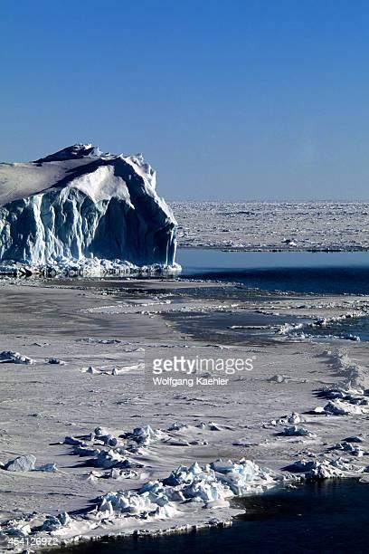 Antarctica Weddell Sea Polynya In Pack Ice Icebergs