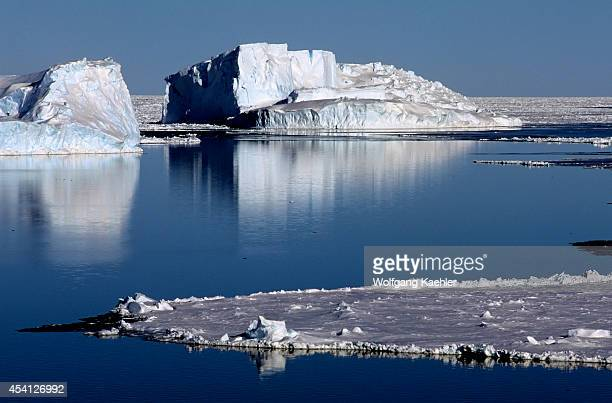 Antarctica, Weddell Sea, Polynya In Pack Ice, Icebergs.