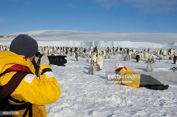 Antarctica Weddell Sea Snow Hill Island Tourists At Emperor Penguin Colony Aptenodytes forsteri