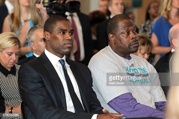 Antawn Jamison and Patrick Ewing attend the press conference as the Charlotte Hornets announce the 2017 AllStar game at the Time Warner Cable Arena...