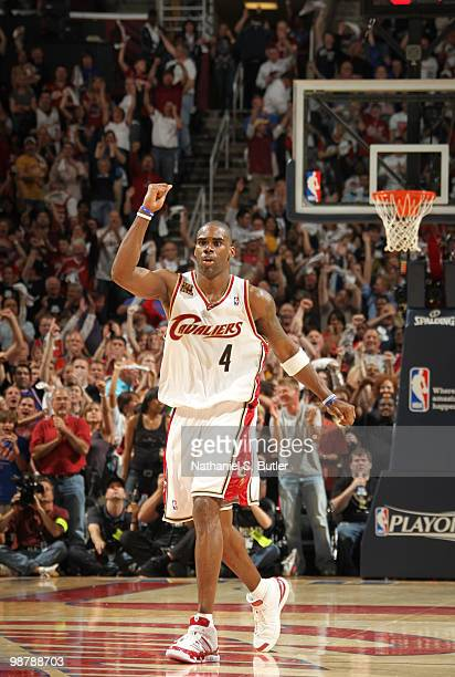Antawn Jamison of the Cleveland Cavaliers celebrates late during a victory against the Boston Celtics in Game One of the Eastern Conference...