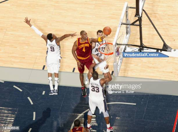 Antawn Jamison of the Cleveland Cavaliers goes to the basket during the game against the New Jersey Nets on March 19 2012 at the Prudential Center in...