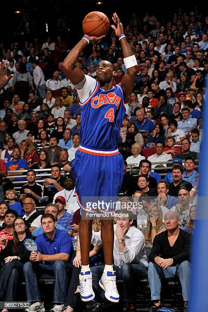 Antawn Jamison of the Cleveland Cavaliers shoots against the Orlando Magic during the game on February 21 2010 at Amway Arena in Orlando Florida NOTE...