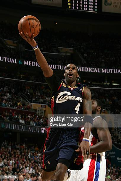 Antawn Jamison of the Cleveland Cavaliers tosses up the shot against the Detroit Pistons on March 21 2010 at The Quicken Loans Arena in Cleveland...