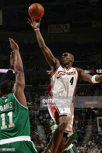 Antawn Jamison of the Cleveland Cavaliers tosses up the shot over Glen Davis of the Boston Celtics in Game One of the Eastern Conference Semifinals...