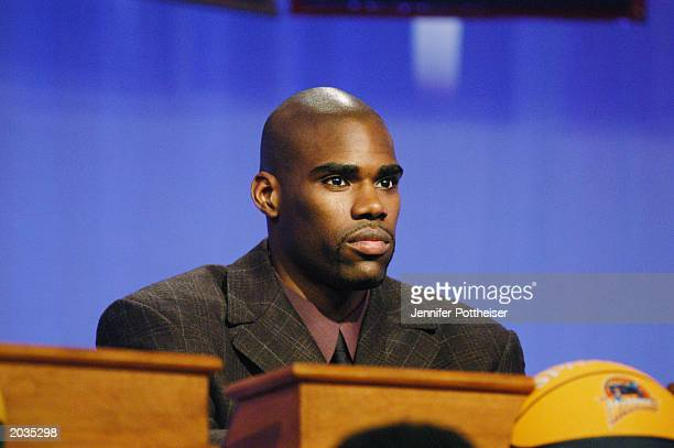 Antawn Jamison of the Golden State Warriors attends the 2003 NBA Draft Lottery on May 22 2003 in Secaucus New Jersey NOTE TO USER User expressly...