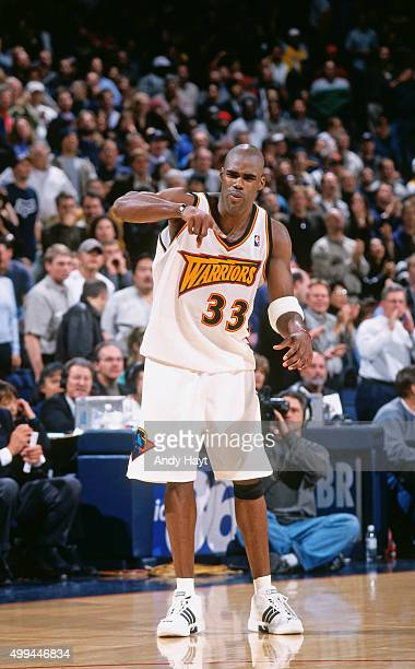 Antawn Jamison of the Golden State Warriors celebrates against the Los Angeles Lakers on December 6 2000 at the Arena in Oakland in Oakland...