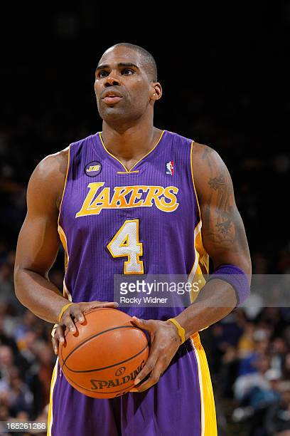Antawn Jamison of the Los Angeles Lakers attempts a free throw shot against the Golden State Warriors on March 25 2013 at Oracle Arena in Oakland...