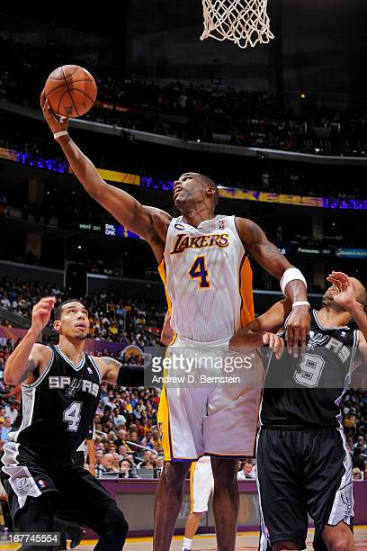 Antawn Jamison of the Los Angeles Lakers shoots a layup against the San Antonio Spurs in Game Four of the Western Conference Quarterfinals during the...