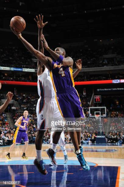 Antawn Jamison of the Los Angeles Lakers shoots against the Charlotte Bobcats on February 8 2013 at the Time Warner Cable Arena in Charlotte North...