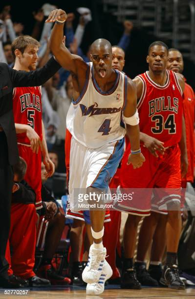 Antawn Jamison of the Washington Wizards celebrates a late game shot against the Chicago Bulls in Game six of the Eastern Conference Quaterfinals...
