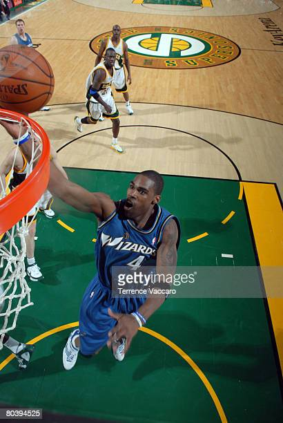 Antawn Jamison of the Washington Wizards goes to the basket against the Seattle SuperSonics on March 26 2008 at the Key Arena in Seattle Washington...