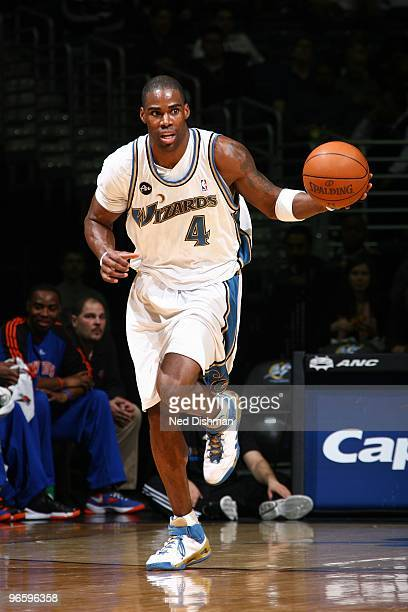 Antawn Jamison of the Washington Wizards moves the ball up court during the game against the New York Knicks at the Verizon Center on January 30 2010...