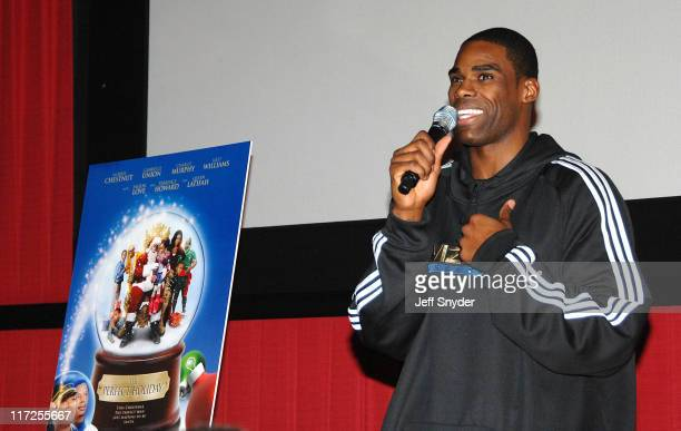 Antawn Jamison of the Washington Wizards speaking prior to the screening of the movie A Perfect Holiday at Regal Gallery Place December 4 2007 in...