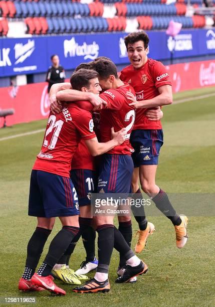 Ante Budimir of CA Osasuna celebrates after scoring their sides first goal with team mates Inigo Perez, Oier and Kike Barja during the La Liga...
