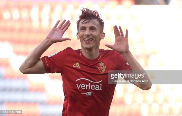 Ante Budimir of CA Osasuna celebrates after scoring their side's first goal during the La Liga Santander match between C.A. Osasuna and Cadiz CF at...