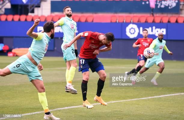 Ante Budimir of CA Osasuna scores their sides second goal during the La Liga Santander match between C.A. Osasuna and Granada CF at Estadio El Sadar...