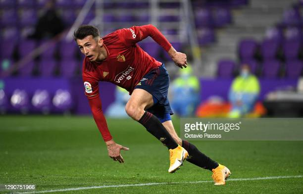 Ante Budimir of Osasuna celebrates after scoring their sides first goal during the La Liga Santander match between Real Valladolid CF and C.A....