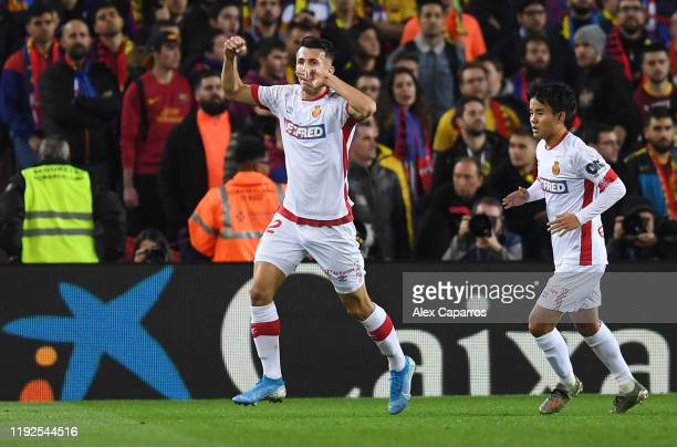 Ante Budimir of RCD Mallorca celebrates after scoring his team's first goal during the Liga match between FC Barcelona and RCD Mallorca at Camp Nou...