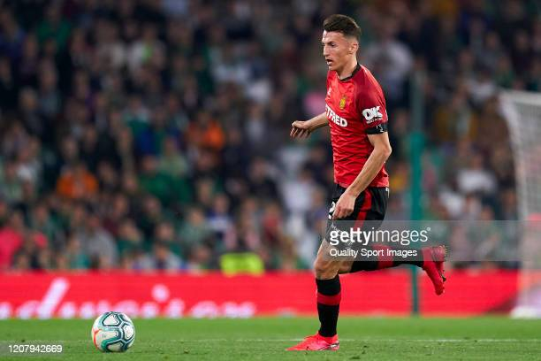 Ante Budimir of RCD Mallorca in action during the La Liga match between Real Betis Balompie and RCD Mallorca at Estadio Benito Villamarin on February...