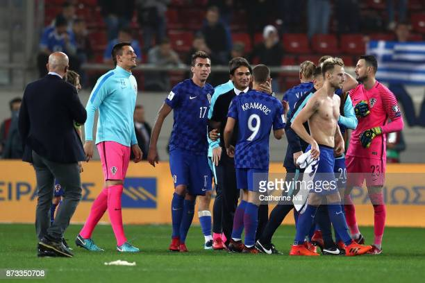 Ante Cacic manager of Croatia celebrates with his team following qualification to The World Cup after the FIFA 2018 World Cup Qualifier PlayOff...