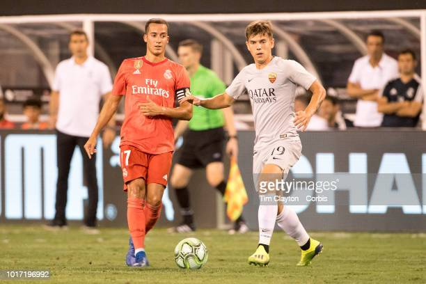 Ante Coric of AS Roma and Lucas Vázquez of Real Madrid in action during the Real Madrid vs AS Roma International Champions Cup match at MetLife...