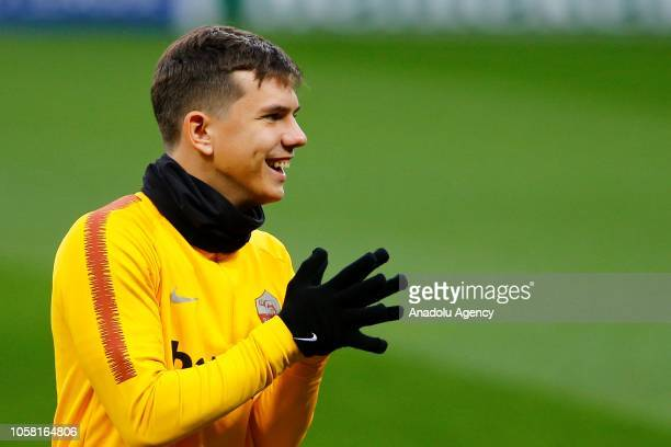 Ante Coric of AS Roma attends a training session ahead of the UEFA Champions League Group G match against CSKA Moscow at the Luzhniki Stadium in...