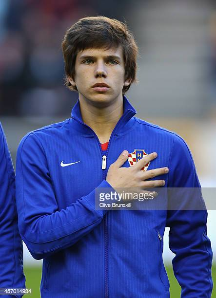 Ante Coric of Croatia prior to the UEFA U21 Championship Playoff First Leg match between England and Croatia at Molineux on October 10 2014 in...