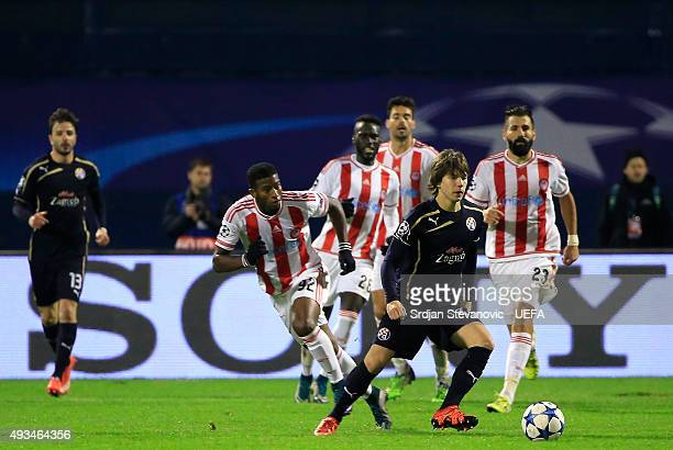 ZAGREB CROATIA OCTOBER 20 Ante Coric of Dinamo Zagreb in action during the UEFA Champions League Group F match between Dinamo Zagreb and Olympiacos...