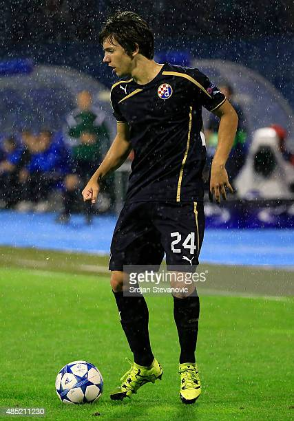 ZAGREB CROATIA AUGUST 25 Ante Coric of Dinamo Zagreb in action during the UEFA Champions League Qualifying Round Play Off Second Leg match between...