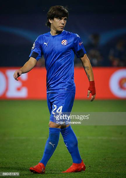 Ante Coric of Dinamo Zagreb looks on during the UEFA Champions League Playoffs First leg match between Dinamo Zagreb and Salzburg at Stadion Maksimir...